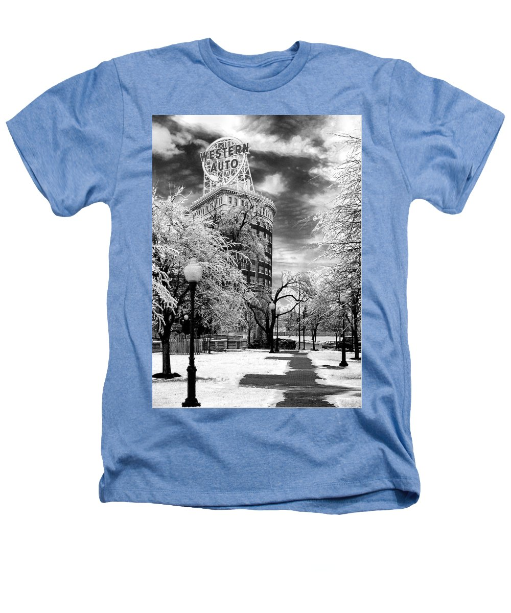 Western Auto Kansas City Heathers T-Shirt featuring the photograph Western Auto In Winter by Steve Karol