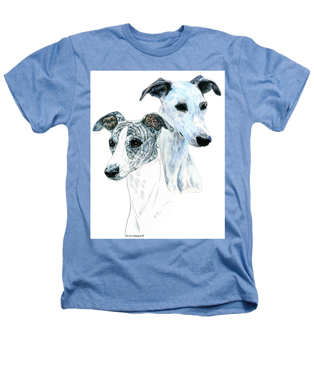 Whippet Heathers T-Shirt featuring the painting Whippet Pair by Kathleen Sepulveda