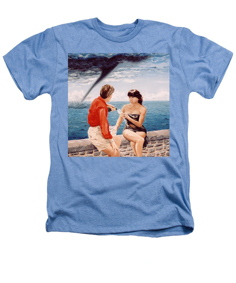 Whirlwind Heathers T-Shirt featuring the painting Whirlwind Romance by Mark Cawood