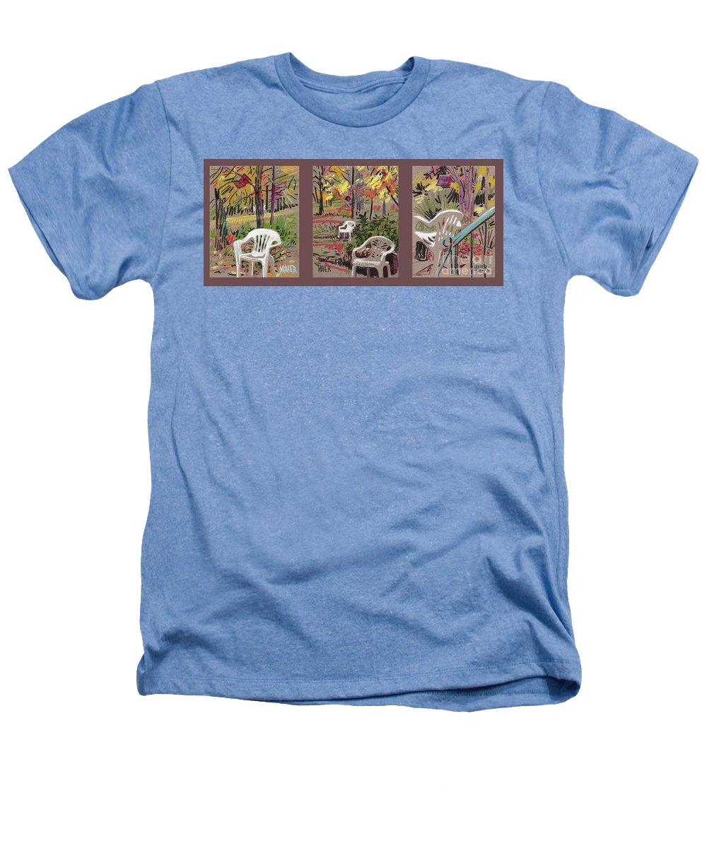 Pastel Heathers T-Shirt featuring the drawing White Chairs And Birdhouses 1 by Donald Maier