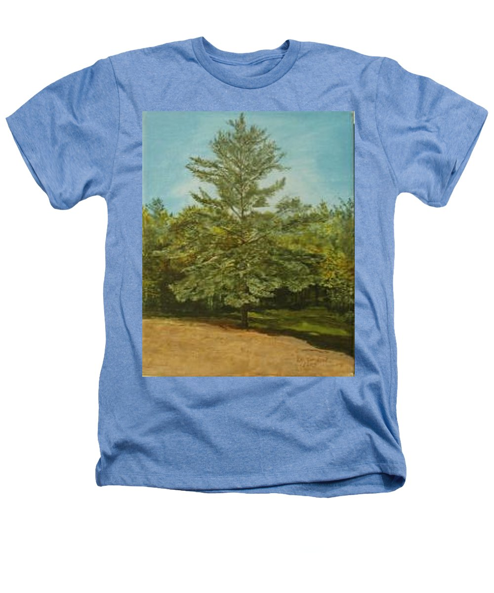 Pine Tree Heathers T-Shirt featuring the painting White Lake by Leah Tomaino