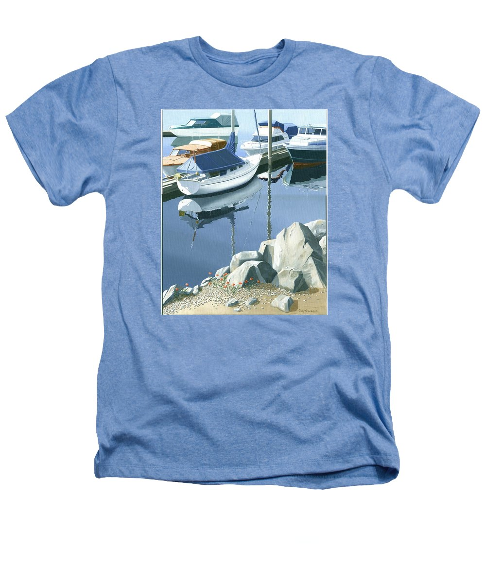 Sailboat Heathers T-Shirt featuring the painting Wildflowers On The Breakwater by Gary Giacomelli