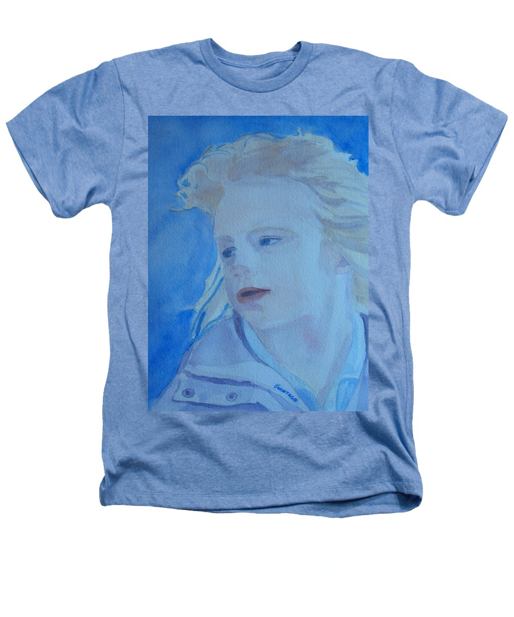 Portrait Portraits Heathers T-Shirt featuring the painting Windswept by Jenny Armitage