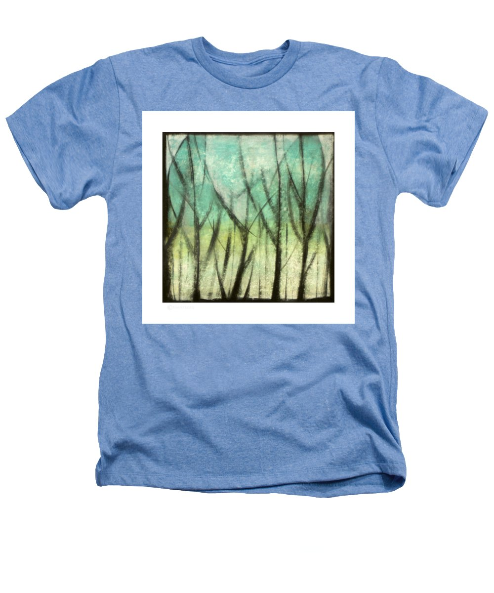 Trees Heathers T-Shirt featuring the painting Winter Into Spring by Tim Nyberg