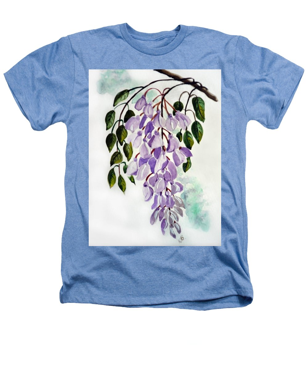 Floral Paintings Flower Paintings Wisteria Paintings Botanical Paintings Flower Purple Paintings Greeting Card Paintings  Heathers T-Shirt featuring the painting Wisteria by Karin Dawn Kelshall- Best