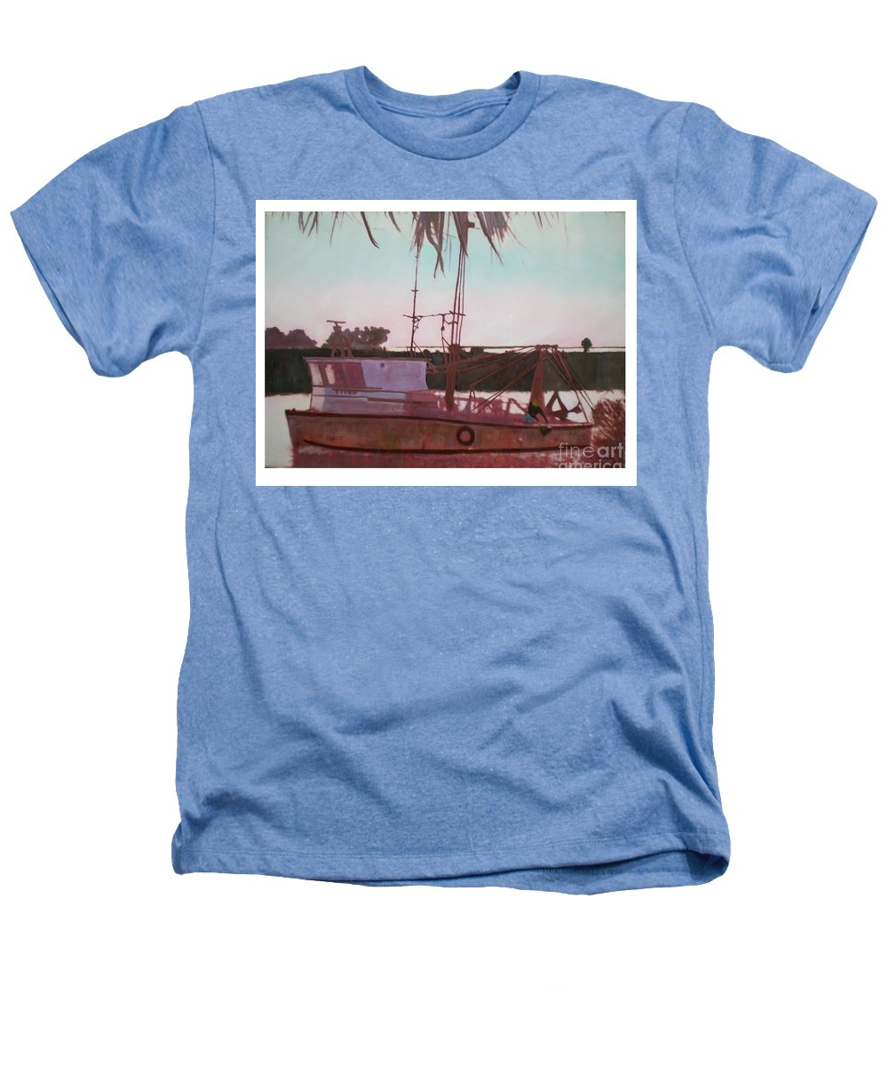 Seascape Heathers T-Shirt featuring the digital art Yankee Town Fishing Boat by Hal Newhouser