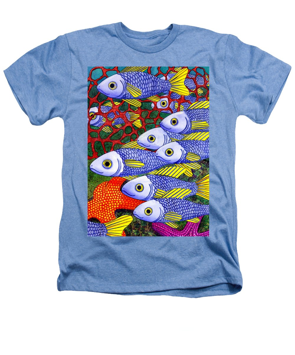 Fish Heathers T-Shirt featuring the painting Yellow Fins by Catherine G McElroy