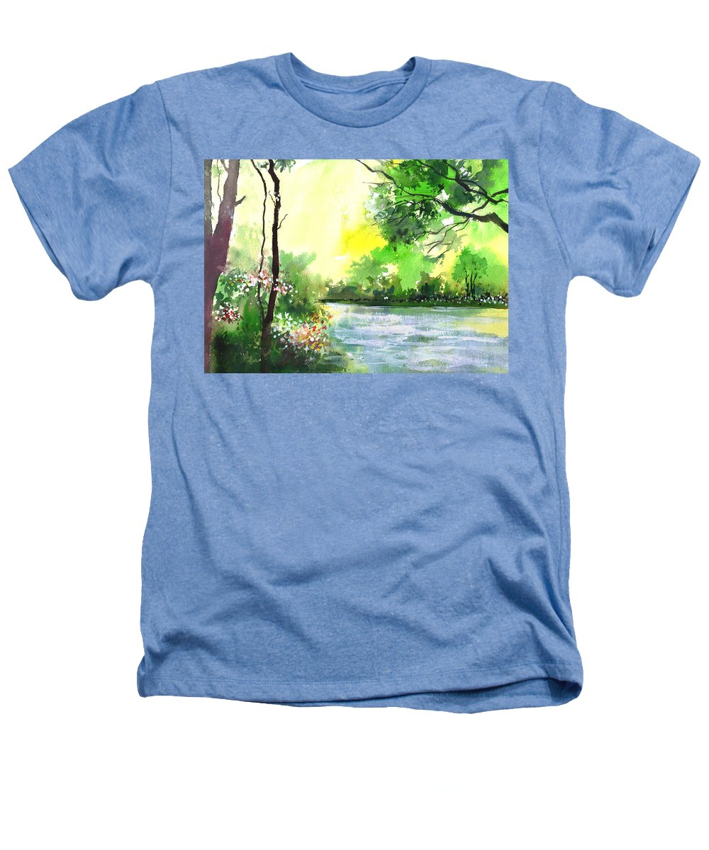 Sky Heathers T-Shirt featuring the painting Yellow Sky by Anil Nene
