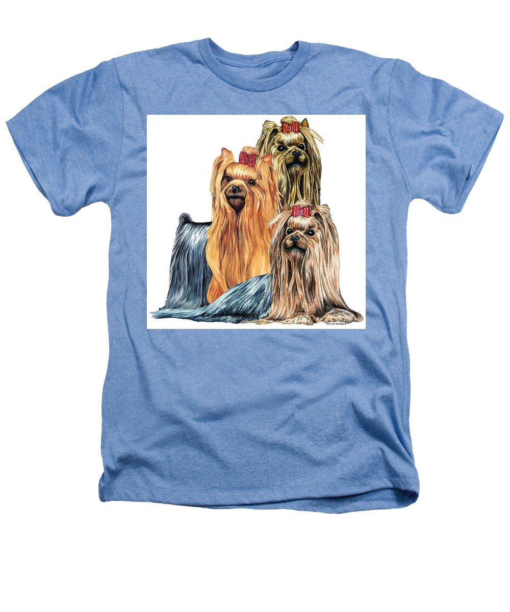 Yorkshire Terrier Heathers T-Shirt featuring the drawing Yorkshire Terriers by Kathleen Sepulveda