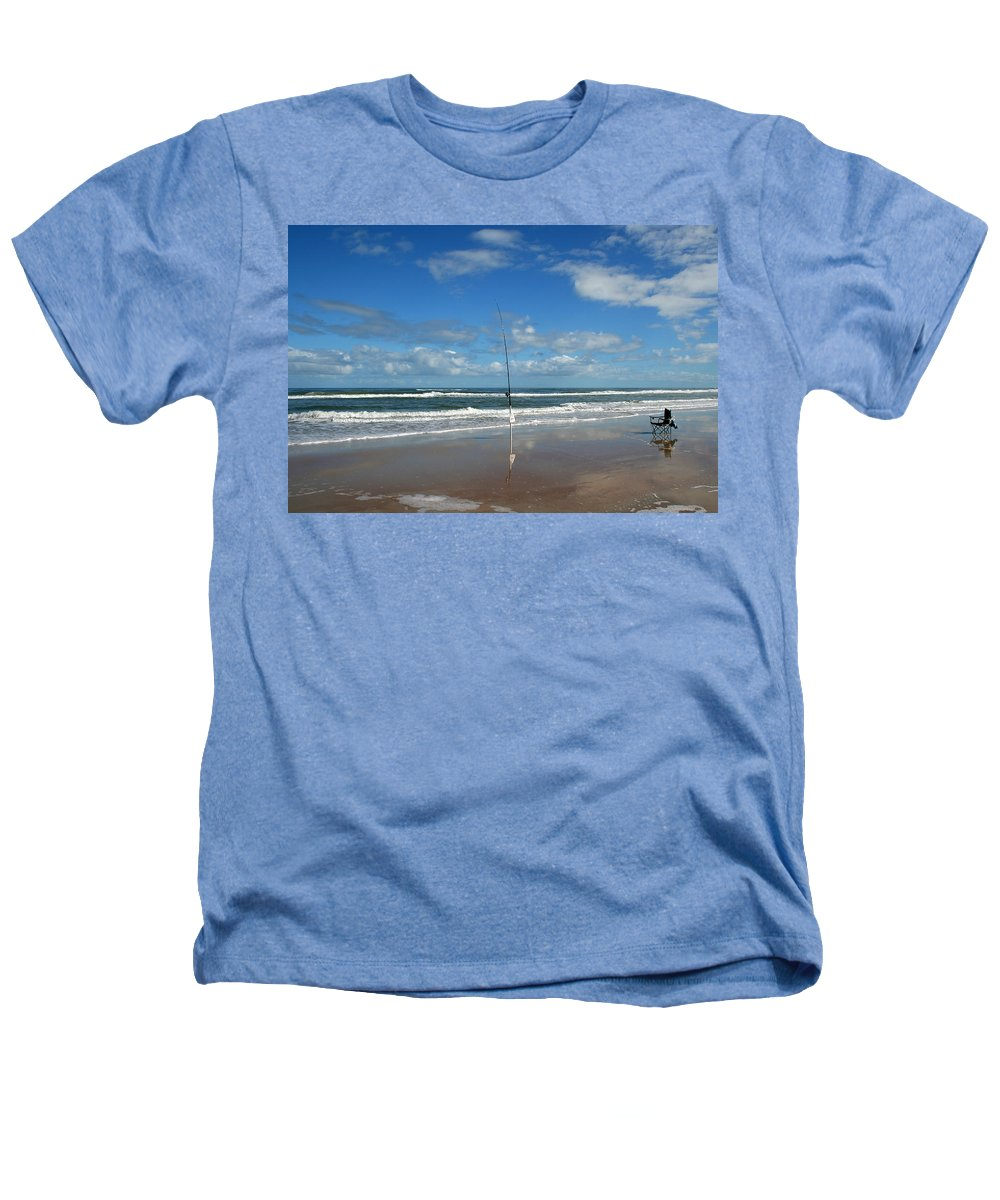 Fish Fishing Vacation Beach Surf Shore Rod Pole Chair Blue Sky Ocean Waves Wave Sun Sunny Bright Heathers T-Shirt featuring the photograph You Could Have Been There by Andrei Shliakhau