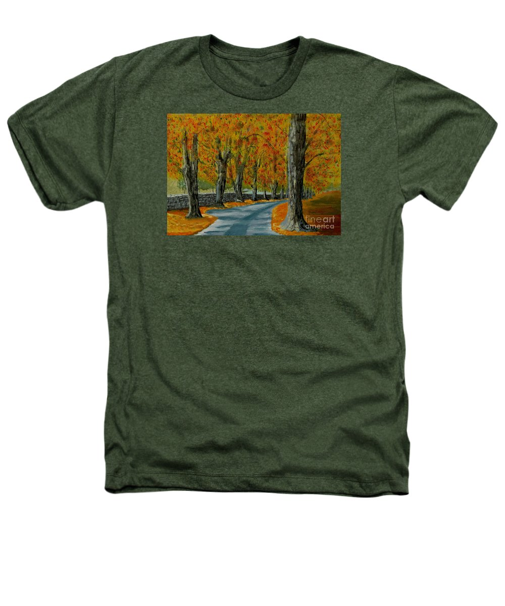 Autumn Heathers T-Shirt featuring the painting Autumn Pathway by Anthony Dunphy
