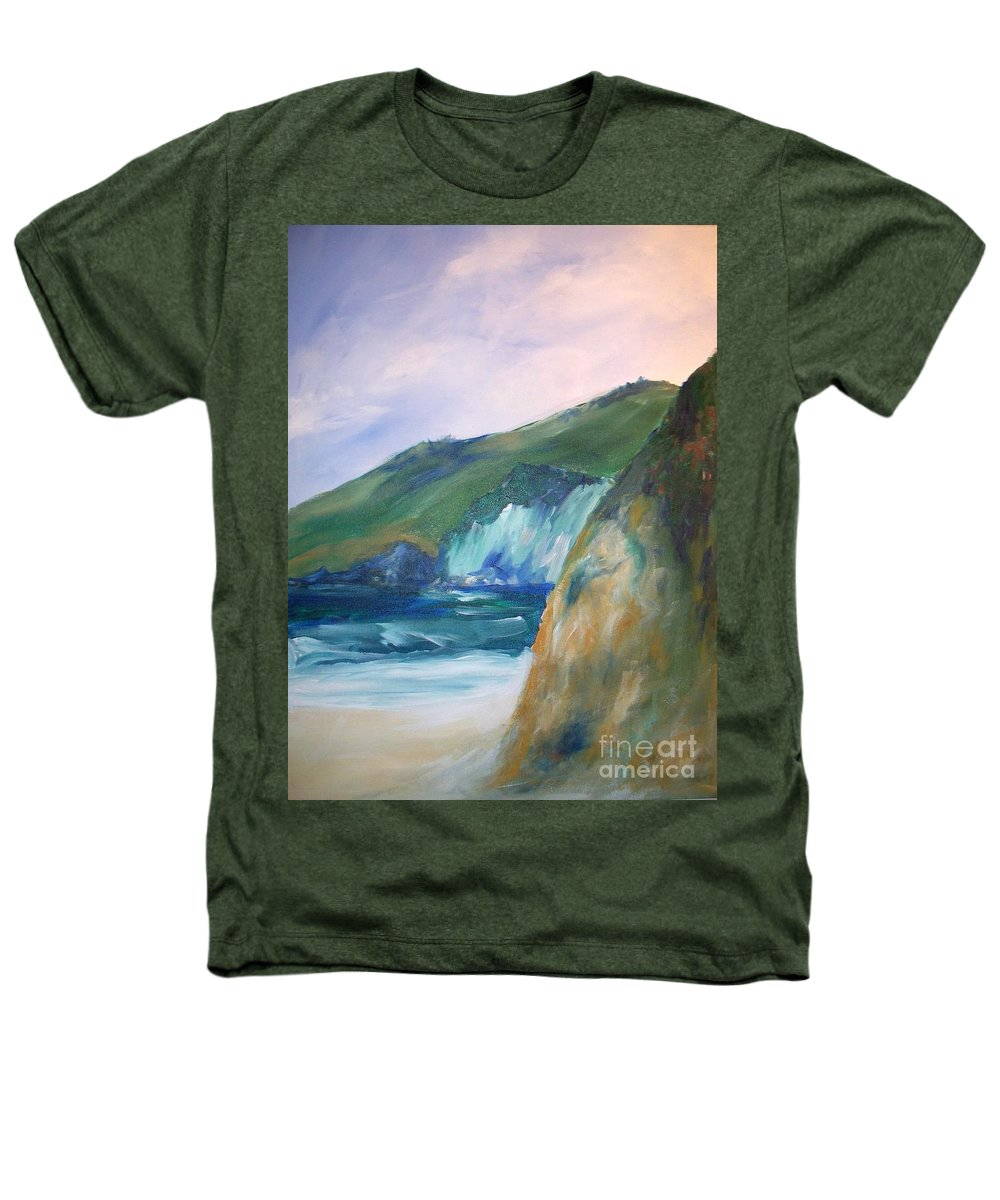 California Coast Heathers T-Shirt featuring the painting Beach California by Eric Schiabor