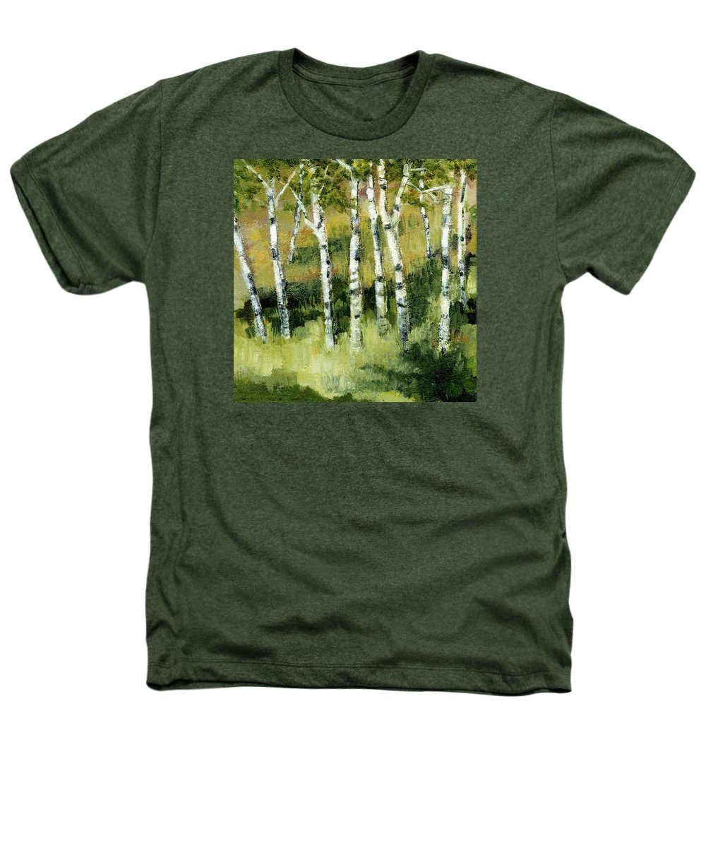 Trees Heathers T-Shirt featuring the painting Birches On A Hill by Michelle Calkins