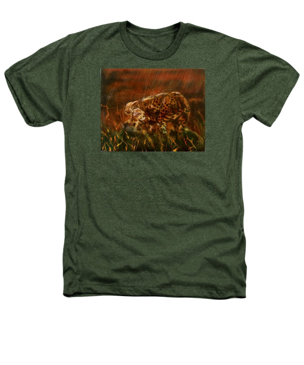 Rain;water;cats;africa;wildlife;animals;mother;shelter;brush;bush Heathers T-Shirt featuring the painting Cheetah Family After The Rains by Sean Connolly