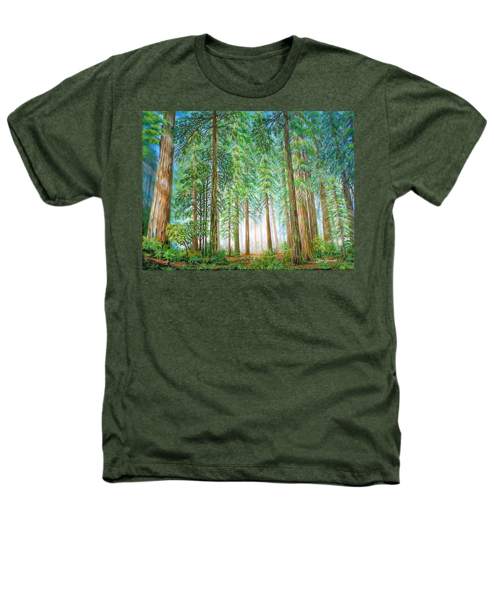 Trees Heathers T-Shirt featuring the painting Coastal Redwoods by Jane Girardot