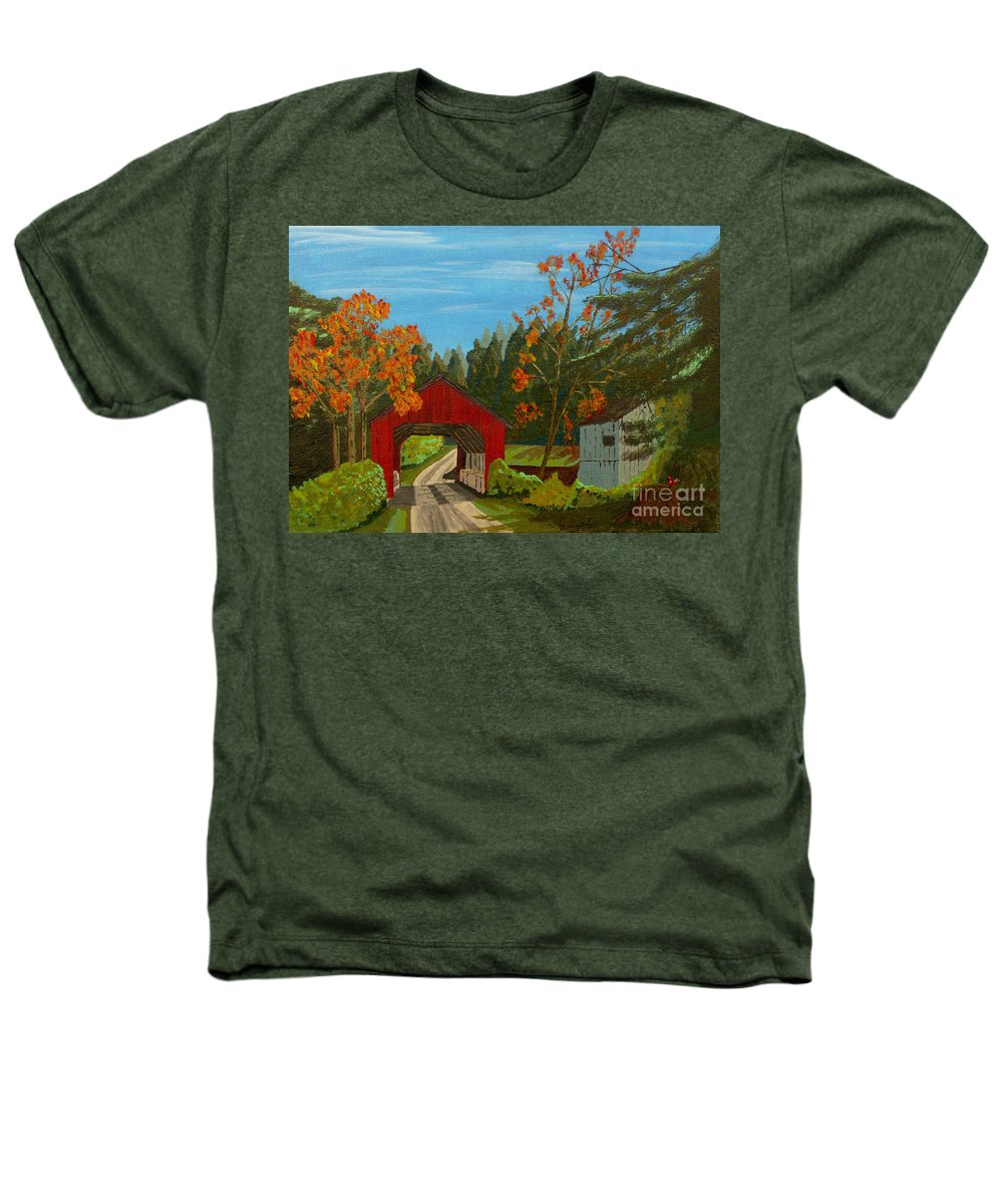 Path Heathers T-Shirt featuring the painting Covered Bridge by Anthony Dunphy