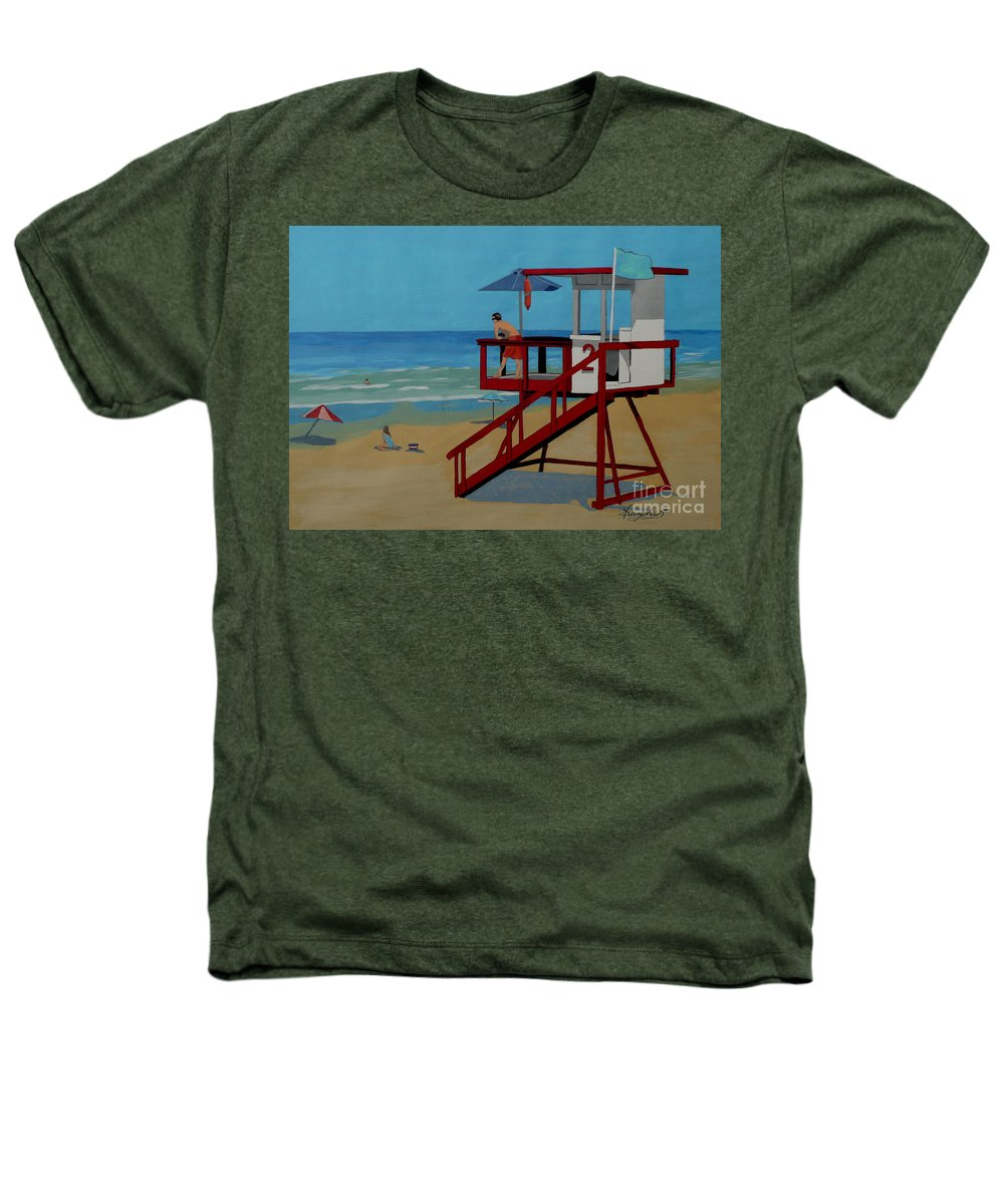 Lifeguard Heathers T-Shirt featuring the painting Distracted Lifeguard by Anthony Dunphy