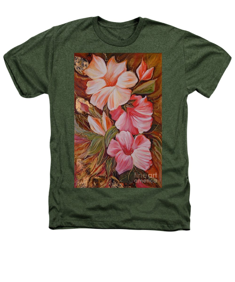 Abstract Heathers T-Shirt featuring the painting Flowers II by Silvana Abel