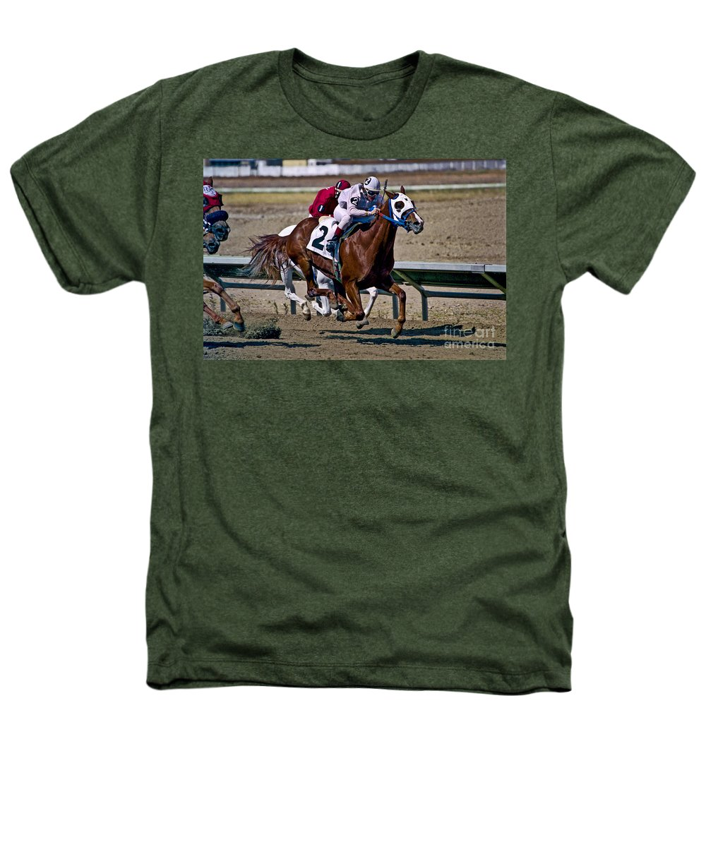 Racing Heathers T-Shirt featuring the photograph Flying Hooves by Kathy McClure
