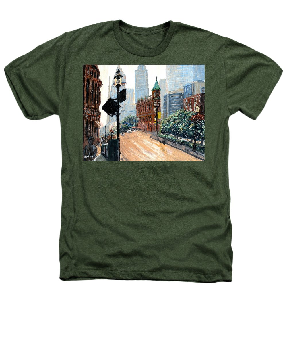 Toronto Heathers T-Shirt featuring the painting Front And Church by Ian MacDonald
