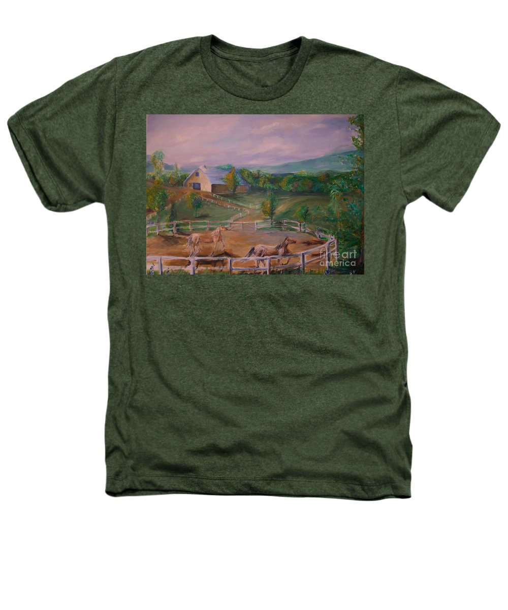 Pennsylvania Heathers T-Shirt featuring the painting Gettysburg Farm by Eric Schiabor