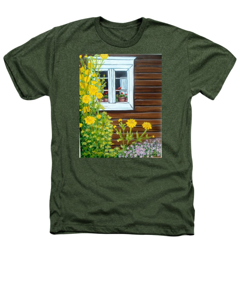 Window Heathers T-Shirt featuring the painting Happy Homestead by Laurie Morgan