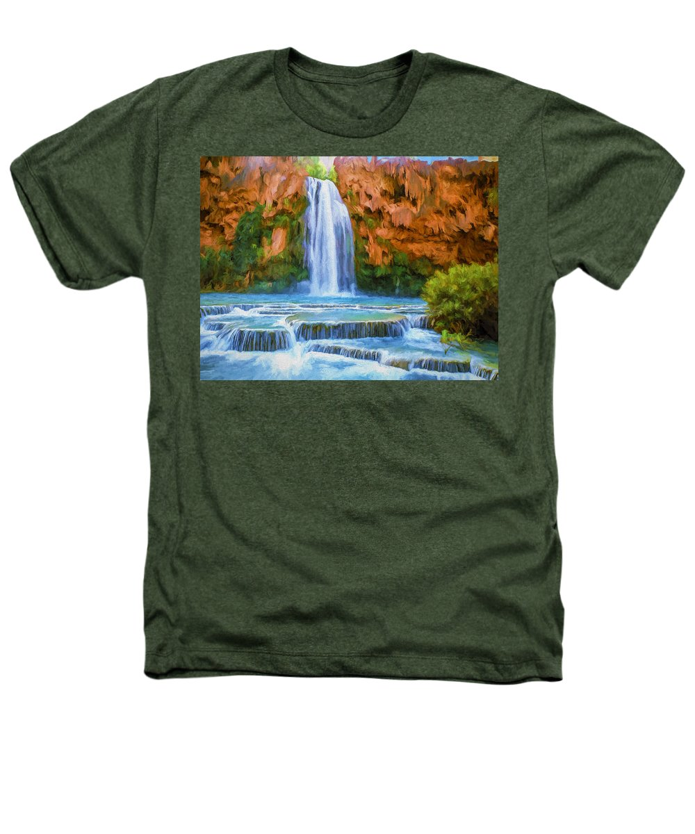 Fine Art Heathers T-Shirt featuring the painting Havasu Falls by David Wagner