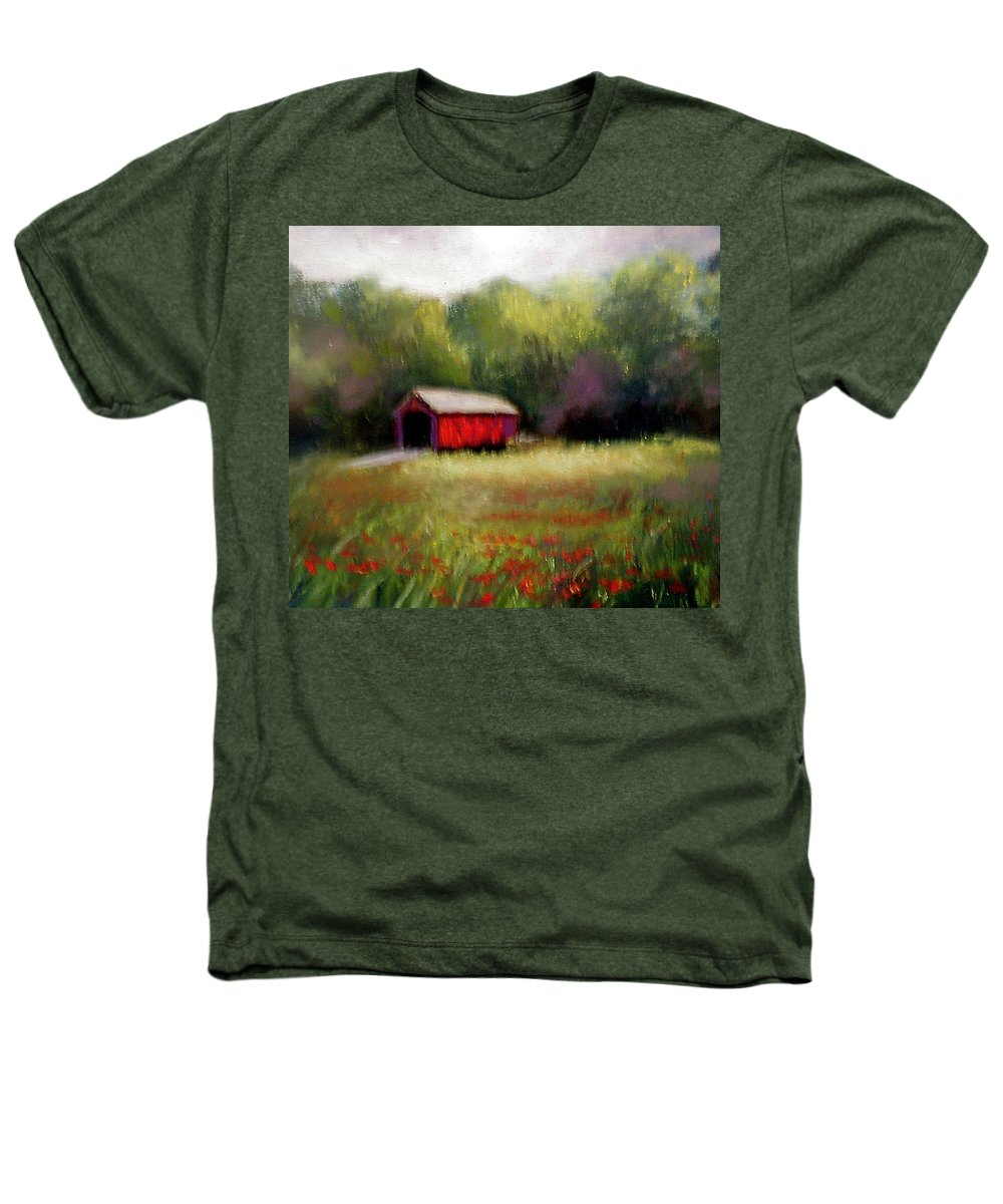 Covered Bridge Heathers T-Shirt featuring the painting Hune Bridge by Gail Kirtz