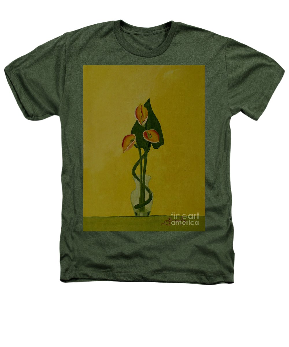 Japan Heathers T-Shirt featuring the painting Japanese Ikebana Arrangement by Anthony Dunphy