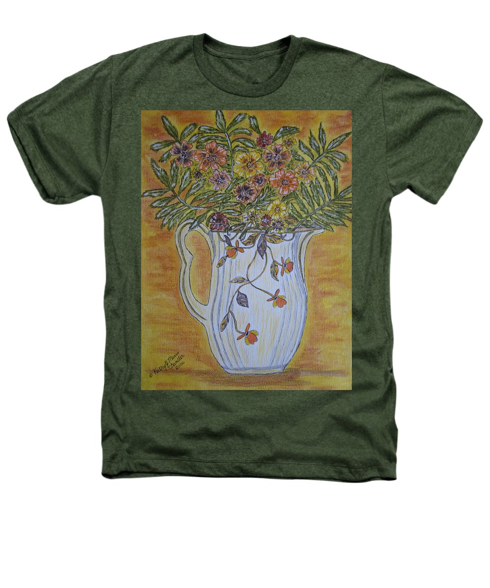 Jewel Tea Heathers T-Shirt featuring the painting Jewel Tea Pitcher With Marigolds by Kathy Marrs Chandler