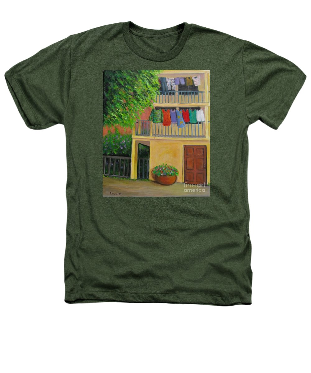 Laundry Heathers T-Shirt featuring the painting Laundry Day by Laurie Morgan