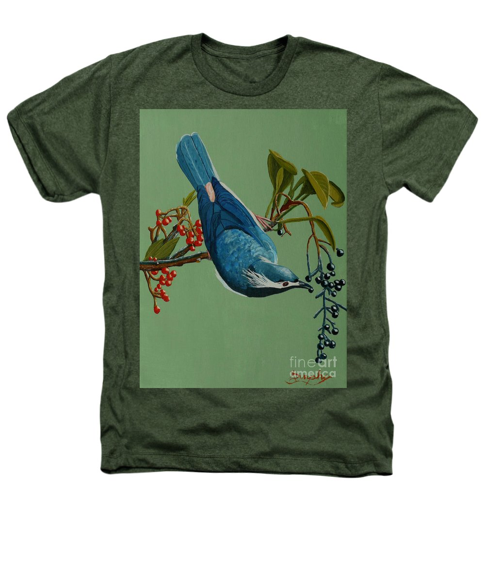 Bird Heathers T-Shirt featuring the painting Lunch Time For Blue Bird by Anthony Dunphy