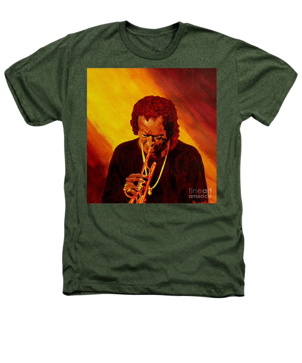 Miles Davis Heathers T-Shirt featuring the painting Miles Davis Jazz Man by Anthony Dunphy