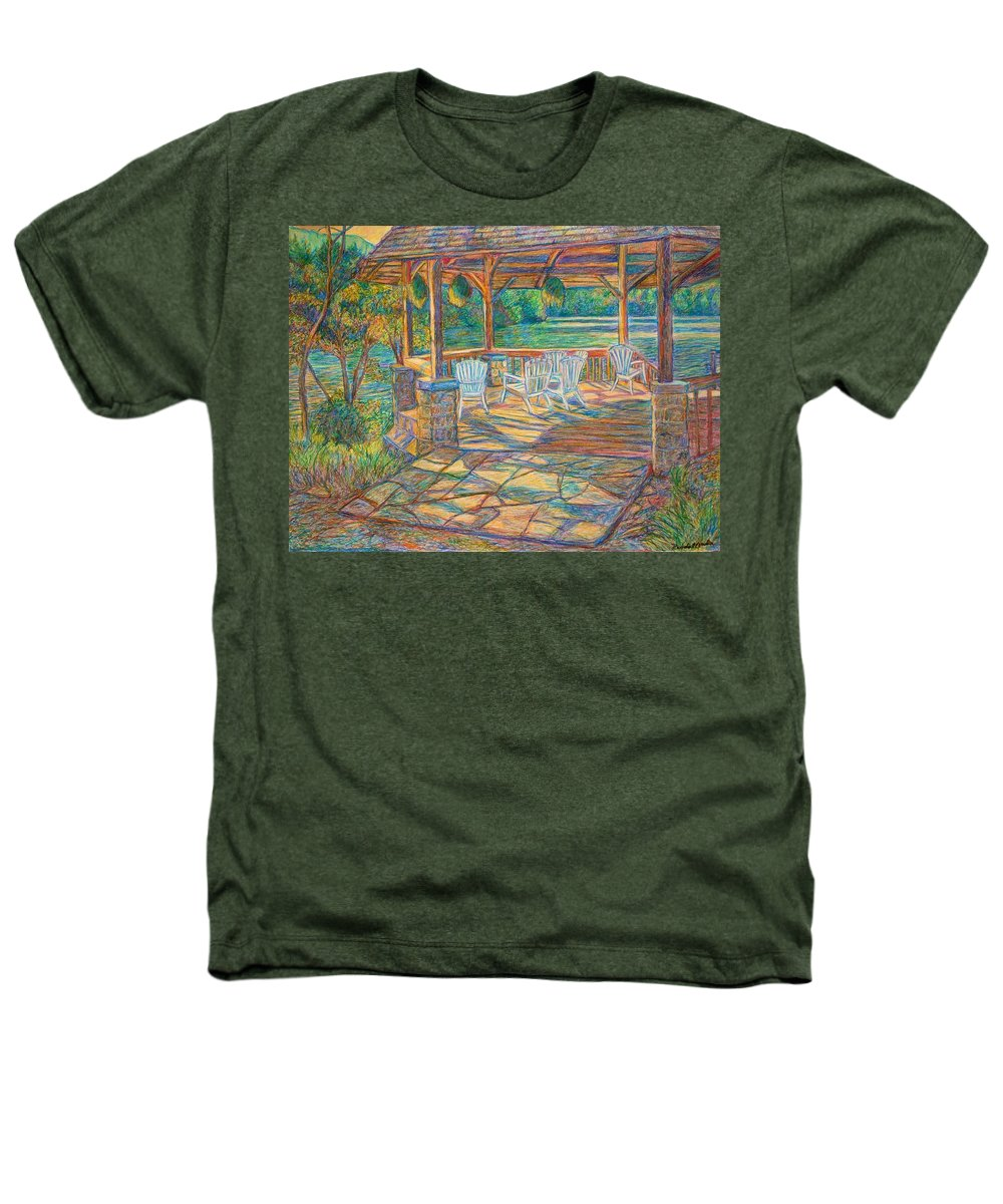 Lake Heathers T-Shirt featuring the painting Mountain Lake Shadows by Kendall Kessler