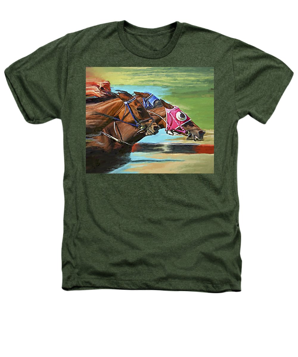Horses Heathers T-Shirt featuring the painting Nikita By A Head by David Wagner