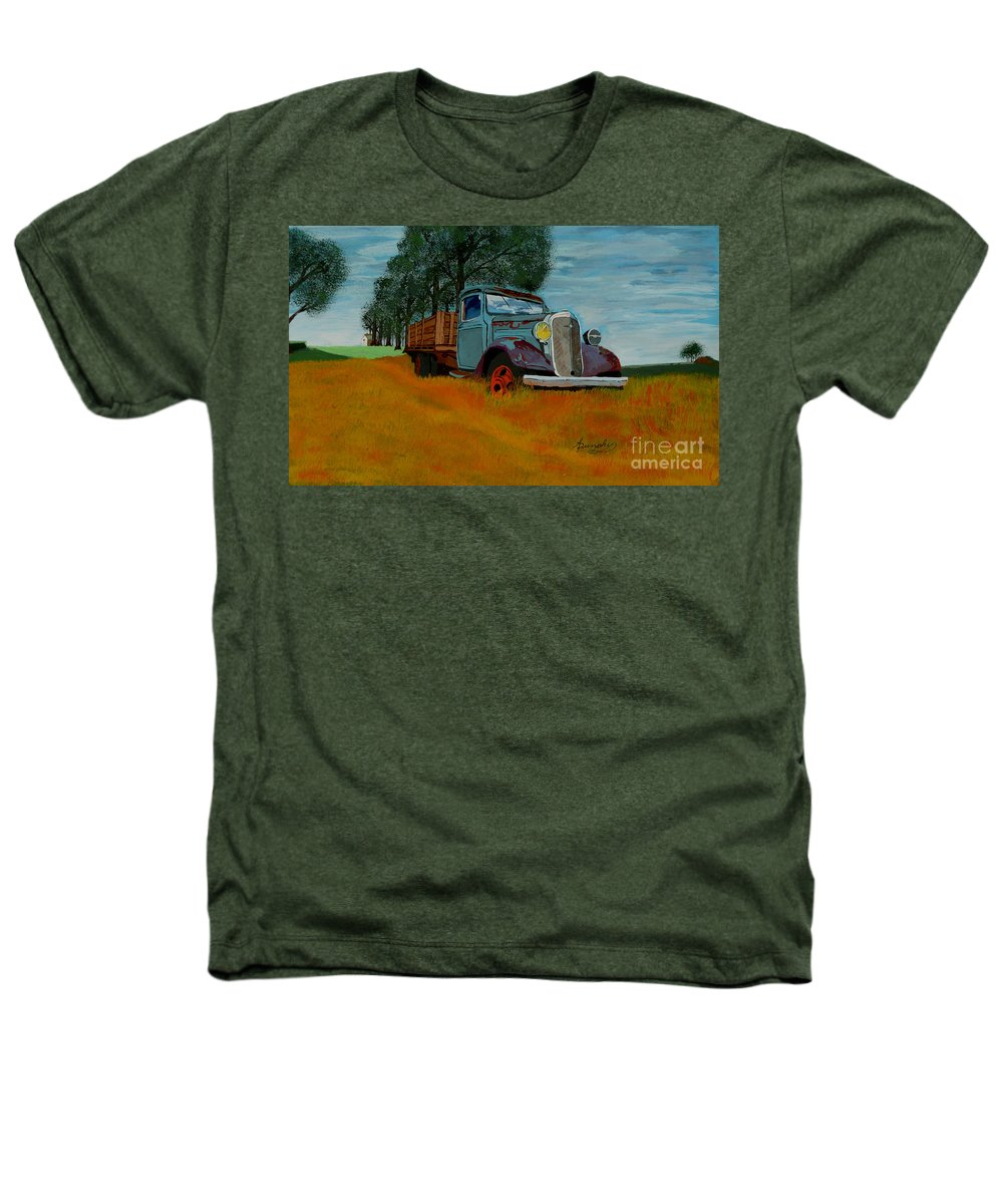 Truck Heathers T-Shirt featuring the painting Out To Pasture by Anthony Dunphy