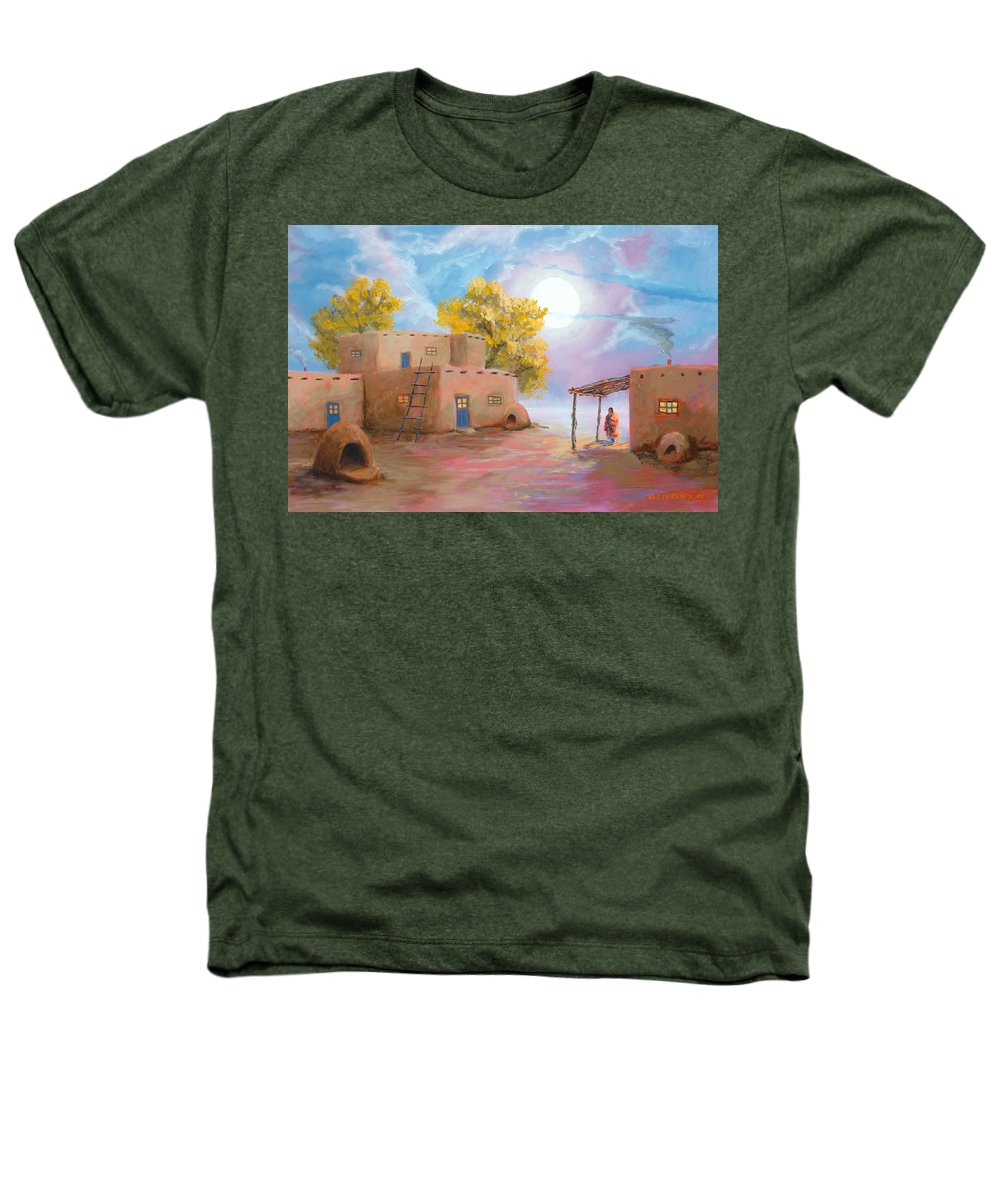 Pueblo Heathers T-Shirt featuring the painting Pueblo De Las Lunas by Jerry McElroy