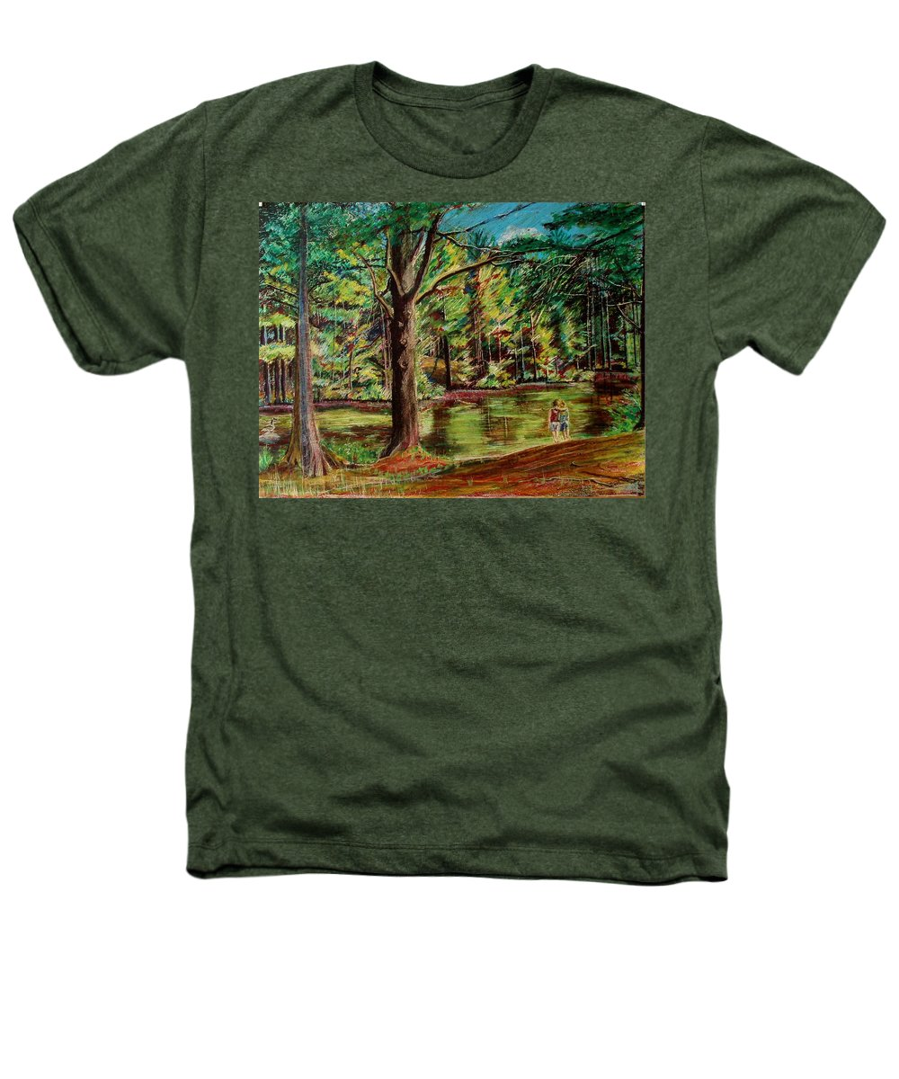 New Hampshire Heathers T-Shirt featuring the pastel Sisters At Wason Pond by Sean Connolly