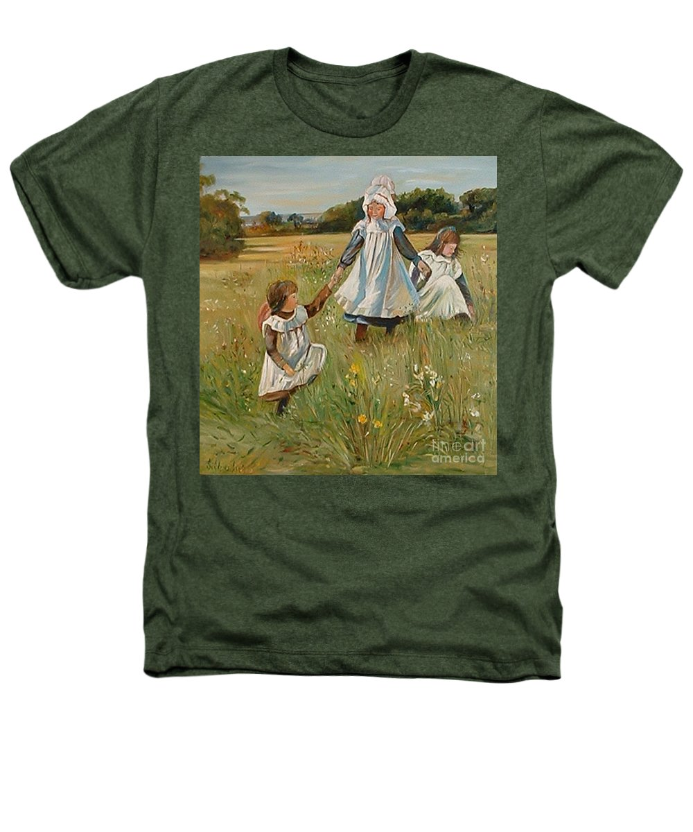 Classic Art Heathers T-Shirt featuring the painting Sisters by Silvana Abel