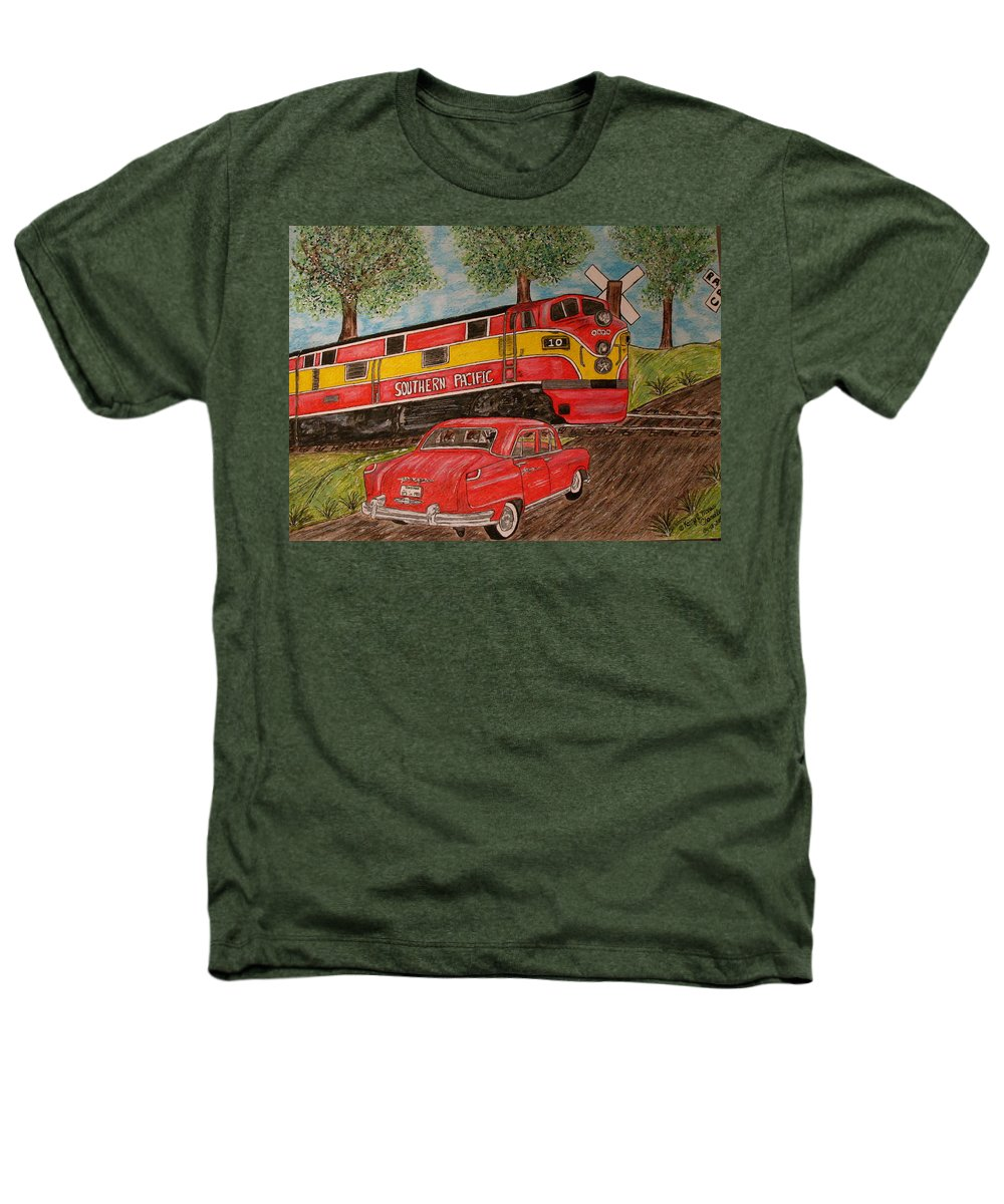 Southern Pacific Railroad Heathers T-Shirt featuring the painting Southern Pacific Train 1951 Kaiser Frazer Car Rr Crossing by Kathy Marrs Chandler