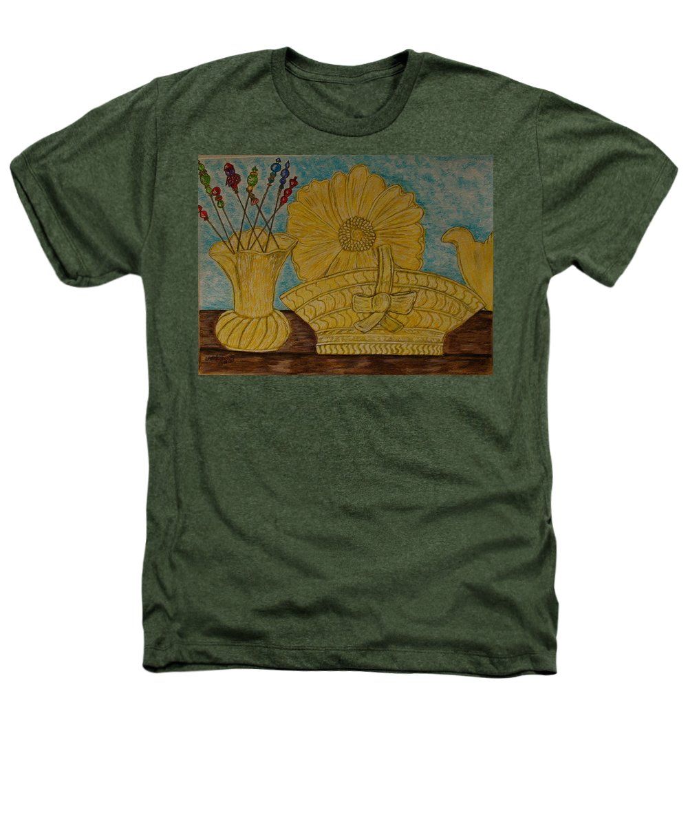 Stangl Pottery Heathers T-Shirt featuring the painting Stangl Pottery Satin Yellow Pattern And Vintage Hat Pins by Kathy Marrs Chandler