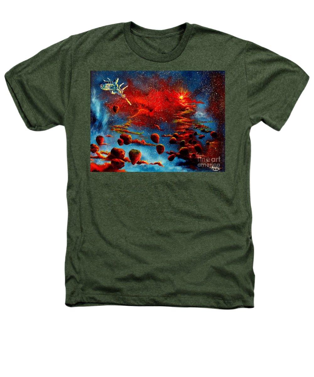 Nova Heathers T-Shirt featuring the painting Starberry Nova Alien Excape by Murphy Elliott