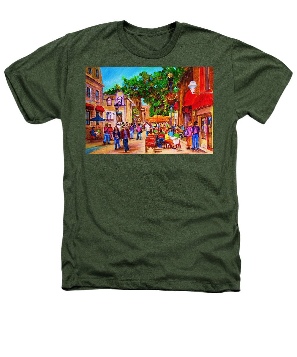 Summer Cafes Montreal Street Scenes Heathers T-Shirt featuring the painting Summer Cafes by Carole Spandau