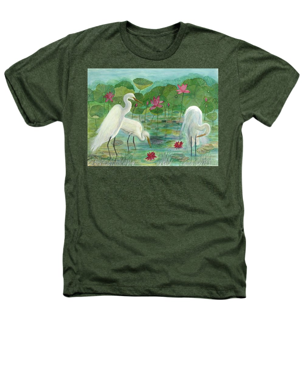 Lily Pads; Egrets; Low Country Heathers T-Shirt featuring the painting Summer Trilogy by Ben Kiger