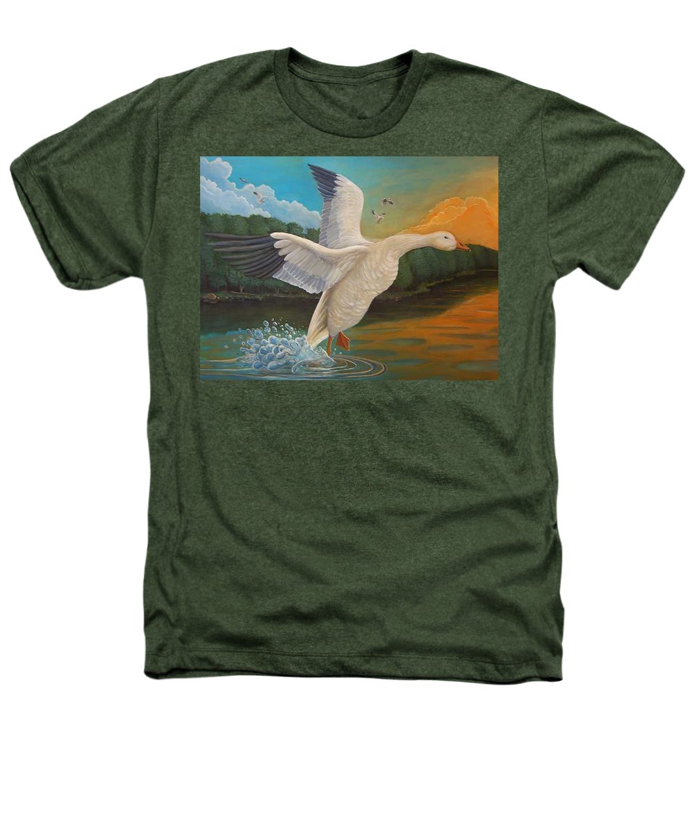 Rick Huotari Heathers T-Shirt featuring the painting The Landing by Rick Huotari