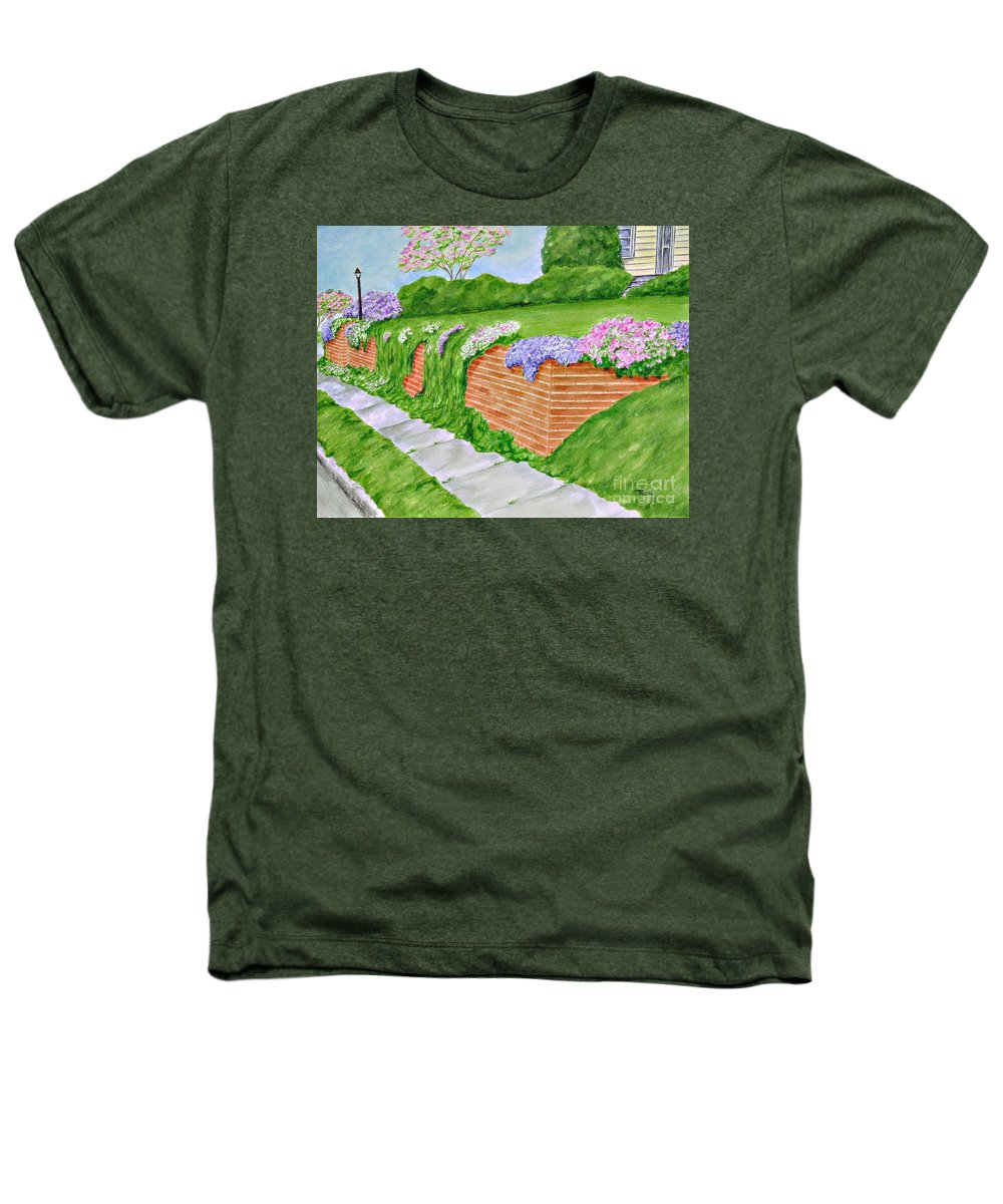 Landscape Heathers T-Shirt featuring the painting Wall Of Flowers by Regan J Smith