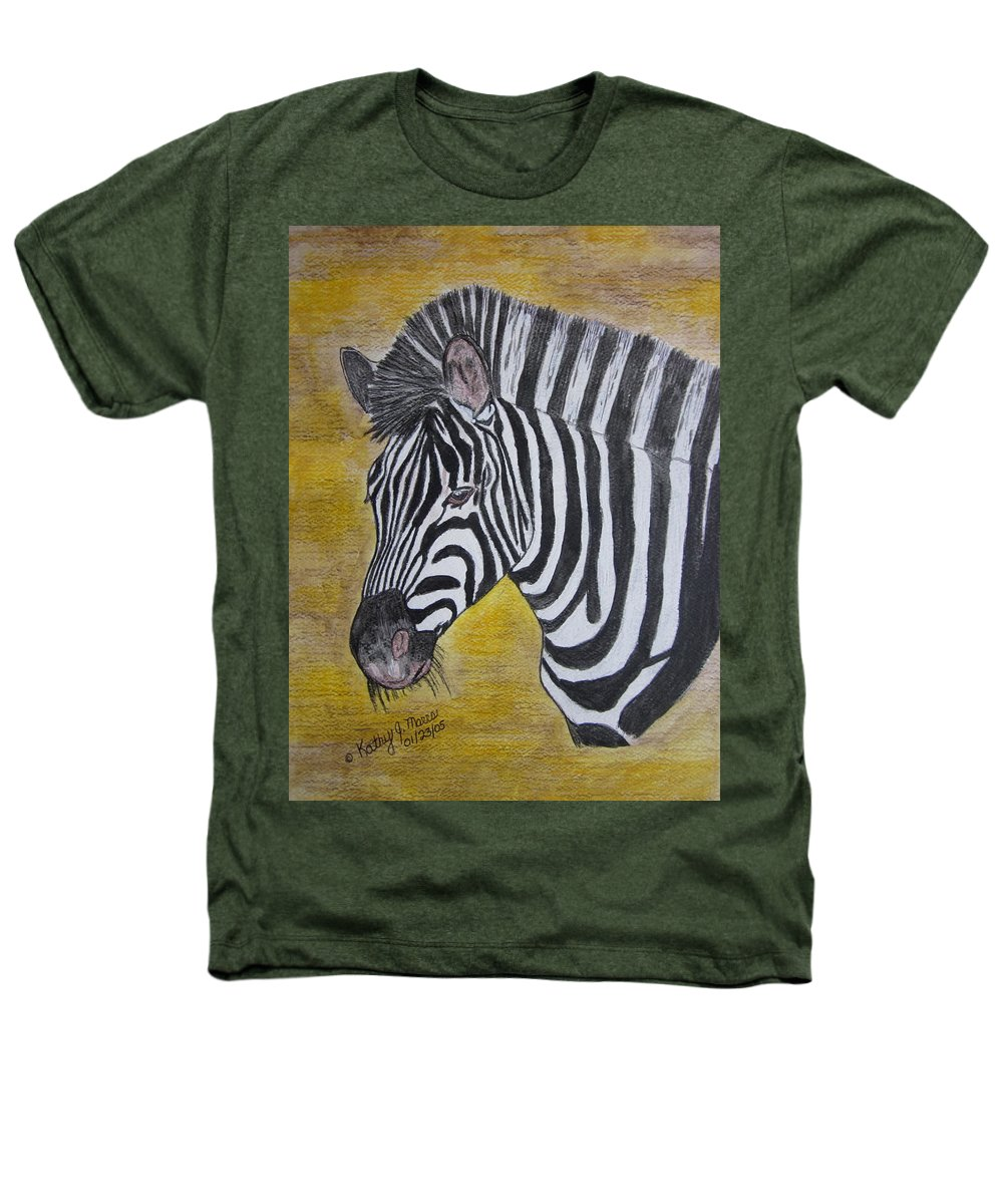 Zebra Heathers T-Shirt featuring the painting Zebra Portrait by Kathy Marrs Chandler