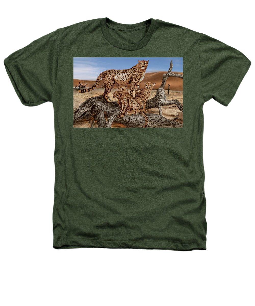 Cheetah Family Tree Heathers T-Shirt featuring the drawing Cheetah Family Tree by Peter Piatt
