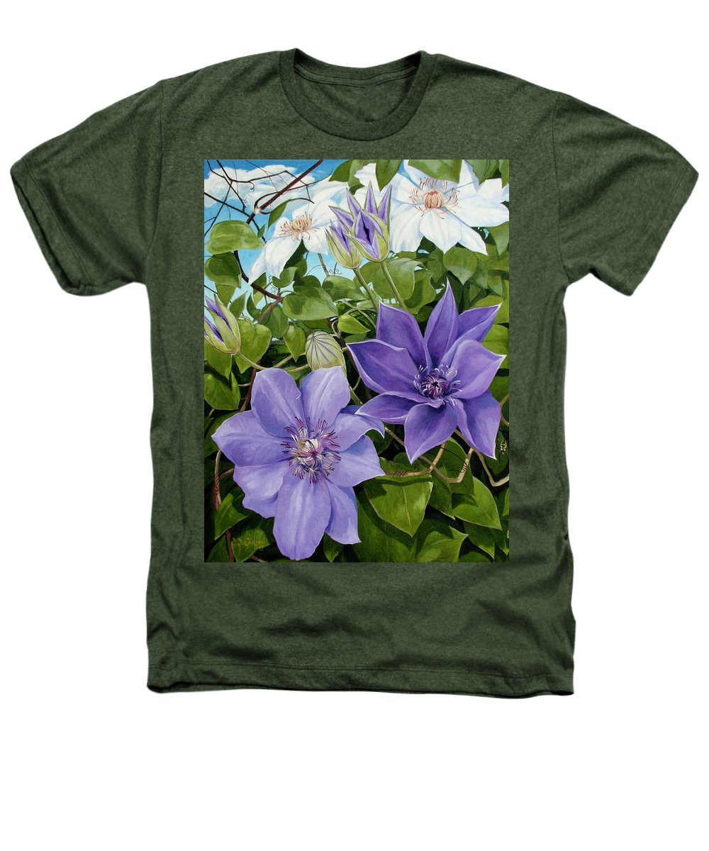 Clematis Heathers T-Shirt featuring the painting Clematis 2 by Jerrold Carton