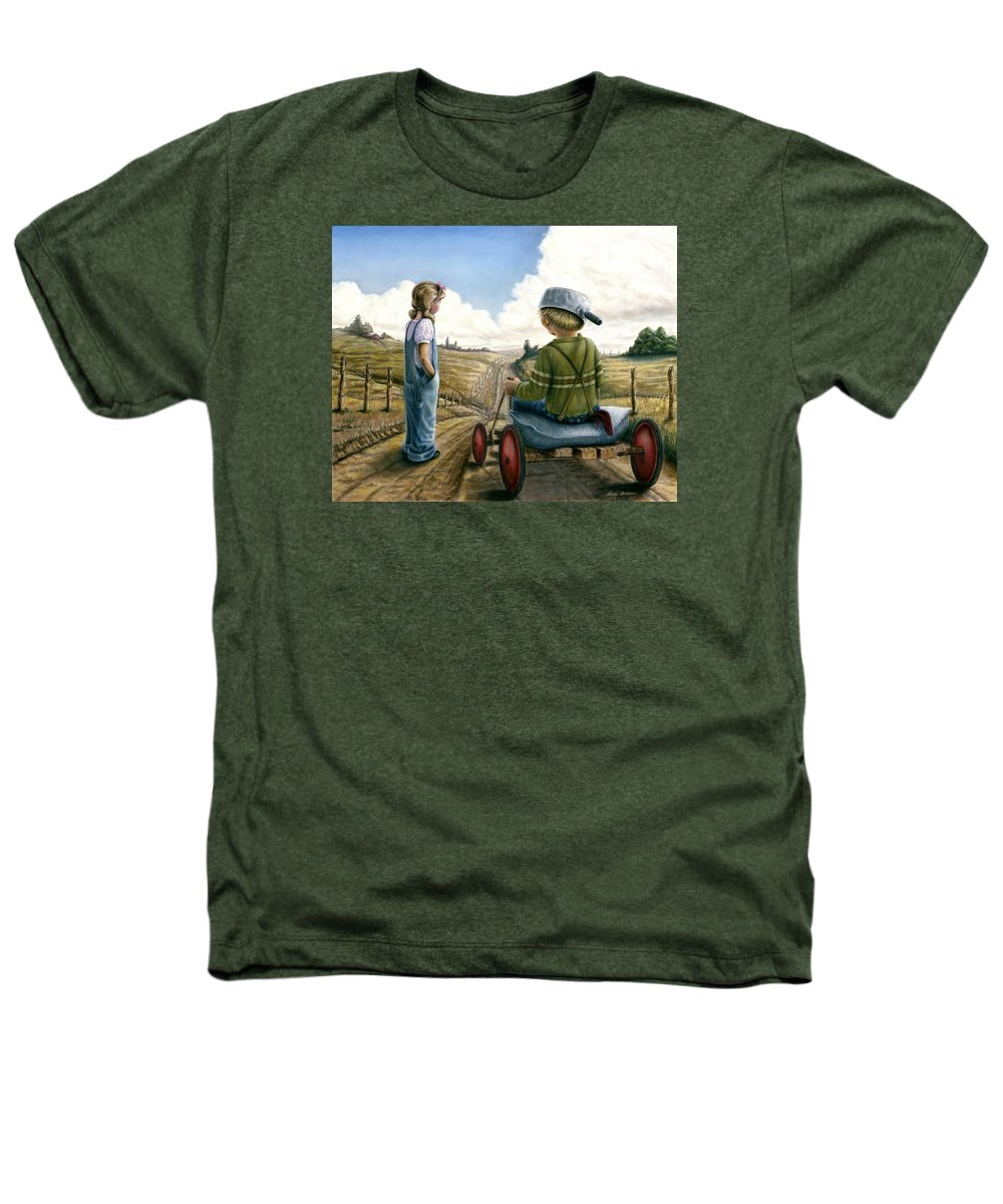 Children Playing Heathers T-Shirt featuring the painting Down Hill Racer by Lance Anderson